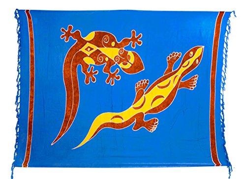 Riesen Auswahl - Sarong Pareo Wickelrock Strandtuch Tuch Wickeltuch Handtuch - Blickdicht - Handbemalt inkl. Schnalle in Rauteform Gecko Blau Braun Gelb Batik