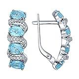 MIRKADA Damen 925 Silber Ohrringe mit Blautopas und Zirkonia, blau