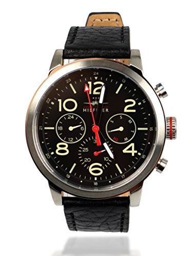 TH-Tommy-Hilfiger-Herren-Armbanduhr-Uhr-Edelstahl-Silber-Leder-Schwarz-1791232