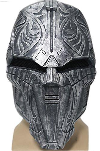 Mesky Sith Acolyte Maske Cosplay Mask Silber aus Harz Verstellbar Elastische Film Kostüm Zubehör für Party, Karneval und Fasching