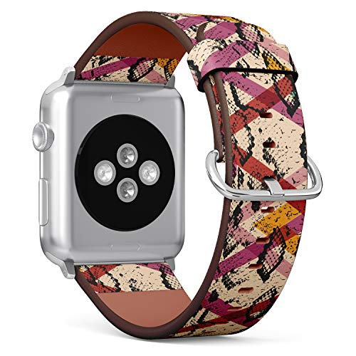 R-Rong kompatibel Watch Armband, Echtes Leder Uhrenarmband f¨¹r Apple Watch Series 4/3/2/1 Sport Edition 42/44mm - Snake Skin Texture in modern trendy Geometric Background? (Snake Skin Uhr)