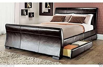IJ Interiors - 4 DRAWERS LEATHER STORAGE SLEIGH BED DOUBLE OR KING SIZE BEDS + MEMORY MATTRESS Luxury Memory Foam Mattress