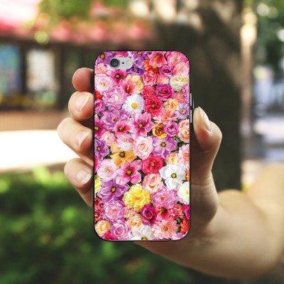 Apple iPhone X Silikon Hülle Case Schutzhülle Blütenmeer Blüten Blumen Silikon Case schwarz / weiß