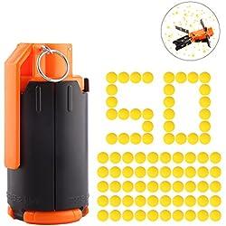 FOKOM Grenade de l'eau Grenade à Jouet Water Beads Bomb en Plastique Bombe à l'Eau Grenade Jouet Tactique Modifié + 50 Pcs Balle Molle Soft Bullet pour Nerf Rival