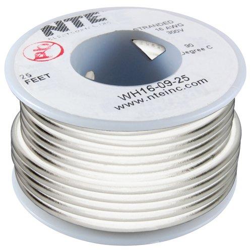 NTE Electronics WT24-09-25wt Teflon Haken-Draht, Typ 24Gauge, 7, 25'Länge, 600V, weiß Nte Electronics