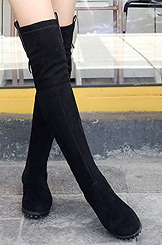 Aisun Femme Sexy Tige Haute Longues Chaud Bottes Cuissardes Noir1