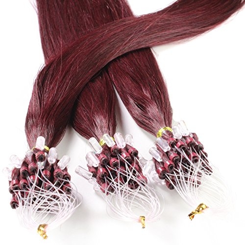 Just Beautiful Hair and Cosmetics Lot de 100 extensions Remy Loop avec micro anneaux Bordeaux (99j) 60 cm