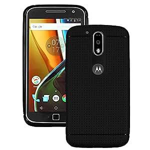 Heartly Retro Dotted Design Hole Soft Dot TPU Matte Bumper Back Case Cover For Motorola Moto G Plus 4th Gen / Moto G4 Plus / Moto G4 - Rugged Black