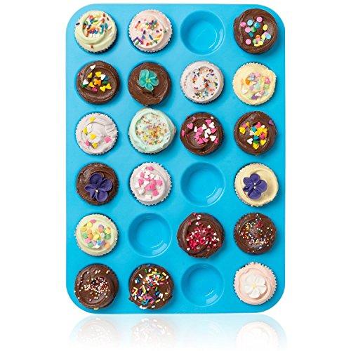 Großes Mini-Muffin-Silikonblech, für 24Muffins, Antihafteffekt, hitzebeständig bis 232°C, spülmaschinenfest, mikrowellengeeignet,Blau -