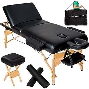 TecTake Table de massage cosmetique lit noir épaisseur de coussin 10cm + accessoires