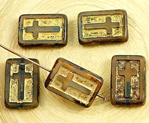 Crystal Cut Cross (4pcs Picasso Crystal Braun Gelb Opal Gold-Rechteck Flach-Tabelle Cut Cross christlichen Rosenkranz Kruzifix, Tschechische Glas-Perlen 11mm x 17mm)