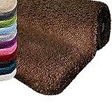 Badematte | kuscheliger Hochflor | Rutschfester Badvorleger | viele Größen | zum Set kombinierbar | Öko-Tex 100 Zertifiziert | 60x100 cm | Earth Brown (braun)
