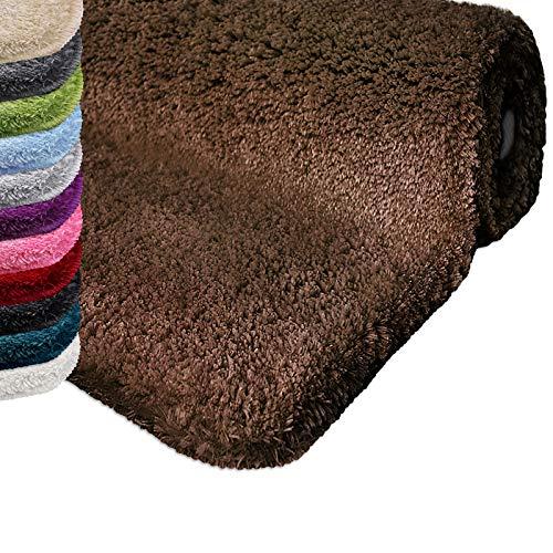 Badematte | kuscheliger Hochflor | Rutschfester Badvorleger | viele Größen | zum Set kombinierbar | Öko-Tex 100 Zertifiziert | 70x120 cm | Earth Brown (braun)