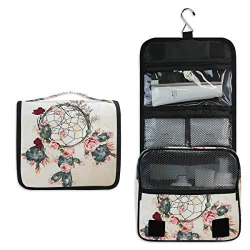 Vinlin - Bolsa de Almacenamiento de Maquillaje portátil multifunción con diseño de Flores y atrapasueños