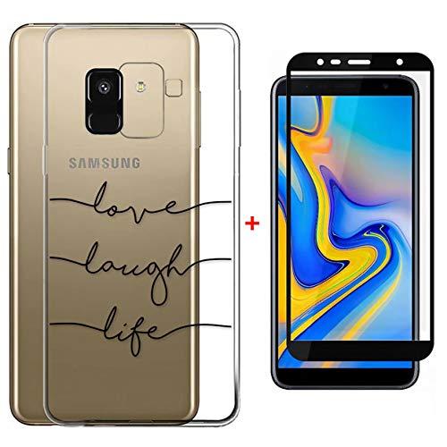 Laixin TPU Hülle für Samsung Galaxy J6 2018 Handyhülle Transparent Silikon Hülle Case Cover Durchsichtig Antikratz Schutzhülle + Free [Gehärtetes Glas Displayschutzfolie], Love Life