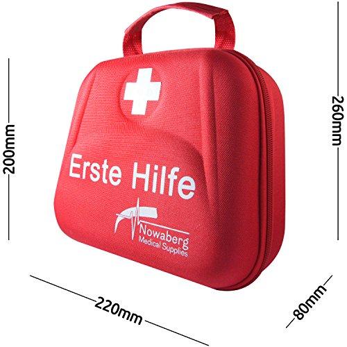 Nowaberg Medical Supplies Erste-Hilfe-Set mit CE-Kennzeichnung für Sport, zu Hause, im Büro, im Wohnwagen, beim Camping, bei Ausflügen oder auf Reisen. Tasche mit 85-teiligem Inhalt für den Notfall - 5