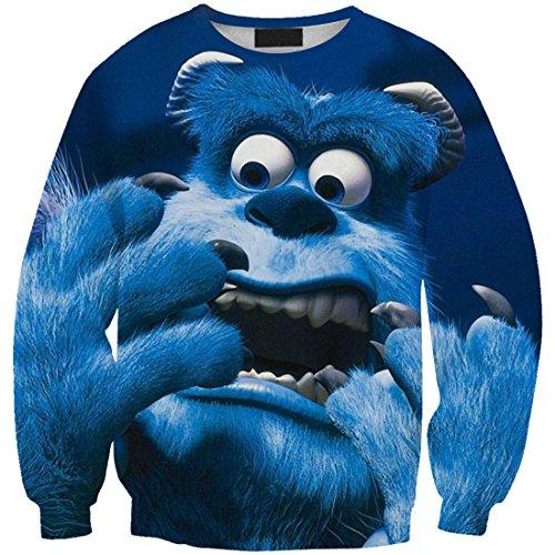 YICHUN Femme Fille T-Shirts de Loisir Tops Tee-Shirt Fin Sweat-shirts Sweaters Pulls Blouse Pull-Overs Imprimé Animal Bleu 7#