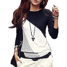 Minetom Donna Moda T-shirt Colore Hit Manica Lunga Allentata Casuale