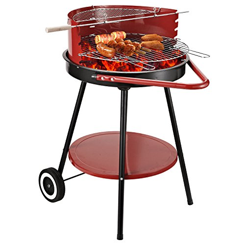 Outsunny New Outdoor Garden Charcoal Barbecue Cooking Grill Trolley with Wheel - Red