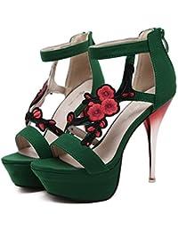 Xianshu Bordado Flores Hollow Zapatos Discotecas Sandalias de tacón alto