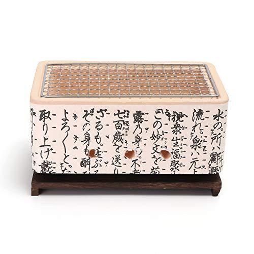 Faway BBQ Holzkohlegrill 4 in 1 Japanische koreanische Keramik Hibachi BBQ Tischgrill Yakitori-Grill Holzkohle-Kocher - Hibachi Grill