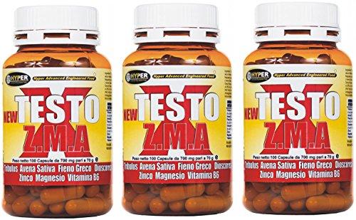 """3 paquet de 70 g - 100 comprimés NEW TESTO X ZMA est une nouvelle formule basée sur - Tribulus terrestris (titré protodioscin) - Avena Sativa - Hay grec - Dioscorrea - Zinc - Magnésium - Vitamine B6 est un stimulant naturel de testostérone et un complément destiné à la tonalité """"musculaire accrue et le pourcentage de la masse corporelle maigre bodybuilding"""