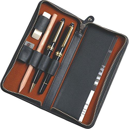 Alassio 2638 - Schreibgeräteetui aus echtem Leder, Etui in schwarz, Stiftetui ca. 17,5 x 8 x 2,5 cm, Lederetui für 3 Stifte und Zubehör -