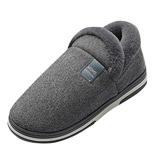 DAIFINEY Herren Hausschuhe Wasserdicht Warm Gefüttert Bequem Pantoffeln Kuschelige Home Indoor Outdoor Slippers Freizeit rutschfeste Slip On Schuhe Flacher Boden(Herren-Grau/Dark Gray,40)