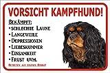 AdriLeo Schild - Vorsicht Cavalier King Charles Spaniel Kampfhund (20x30cm)