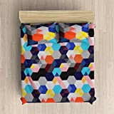 EIN SOF 100% Cotton Double Bedsheet (90x100 Inches) With 2 Pillow Covers Combo Set, Double Bed, King Size Cotton Bed Sheet, 3D Printed Technology, Geometric Chequered Pattern, 150 TC, Multi Color