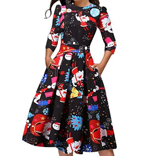 Damen Langarm Business Party Swing Aline Kleid, Junjie Casual Weihnachtsdruck Mini Cocktailkleid Mädchen Festlich Elegant Sexy Vintage Blumen Herbst Rockabilly Boho Retro Kleider