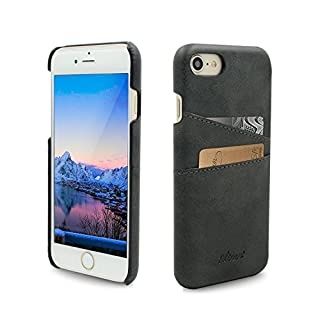 Airart iPhone 7 Card Case, Premium Vintage Soft Leather Wallet Case, Ultra Slim Professional Executive Snap On Back Cover with 2 ID Credit Card Slots Holder for iPhone 7 4.7 Inch, Black