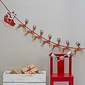 Ginger Ray Christmas Rudolf Reindeer & Santa Sleigh Party Kids Bunting Decoration - Christmas Snowman
