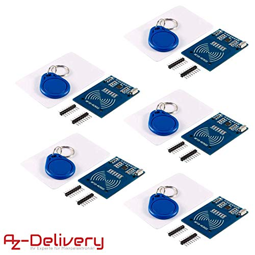 AZDelivery ⭐⭐⭐⭐⭐ 5 x RFID Kit RC522 Reader, Chip and Card for Arduino,  Raspberry Pi and Co  including free eBook!