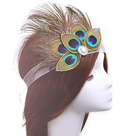 Aukmla Plume Bandeaux Paon Bibi Oreillette indien plumes Accessoires Cheveux pour femmes et filles