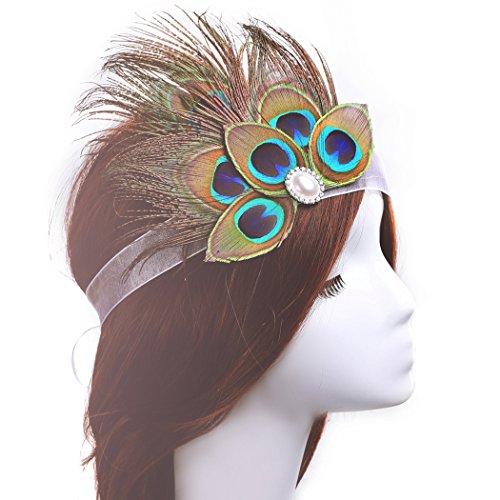 aukmla Feder Headbands Pfau Fascinator Strassbesatz indischen Feder Haar-Accessoires für Frauen und (Kostüm Up Pfau Make)