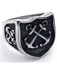 Mens Stainless Steel Ring, Vintage Cross Anchor Shield, Black Silver with Gift Bag