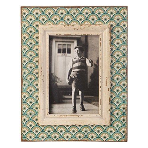 Sass & Belle Bilderrahmen, Boudoir-Muster, Holz, Aqua/Pink, 15 x 10 cm