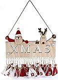 HEITMANN DECO Noël - Calendrier de l'avent Xmas à accrocher et à remplir soi-même - pancarte Xmas ornée d'un Père Noël et d'un renne avec 24 petits sacs suspendus - décoration de Noël - en bois et couleurs rouge et blanche