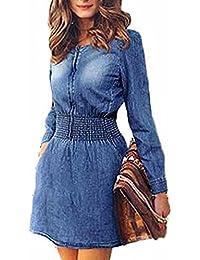 vestidos playa mujer Sannysis vestidos de fiesta para bodas faldas de vaqueros, manga larga jeans