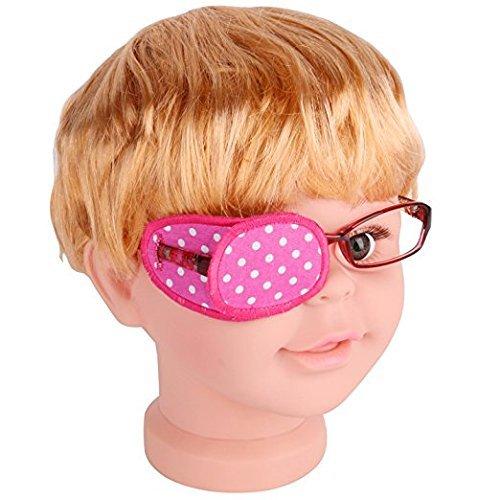 Pansement oculaire en coton pur pour lunettes, traite l'amblyopie ou œil paresseux et le strabisme, pansement oculaire pour enfants, taille ordinaire, rose à pois blancs