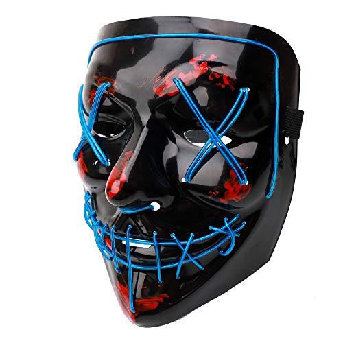 Halloween Maske LED Purge EL Wire Mit 3 Blitzmodi Für Party Halloween Kostüm Weihnachten Grimace Cosplay Festival Party Show (3 Person Halloween Kostüm)