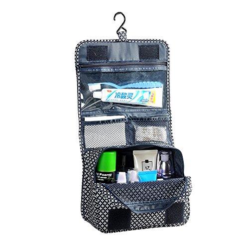 forepin Trousse de Toilette Voyage Organiseur Pochette Sac de Rangement Intérieur Bag in Bag Make up Cosmétique Organisateur Rangement Bag Folding Portable - Style 1 Bleu Grille