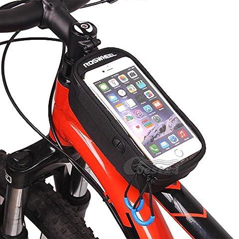 gebettet in® Roswheel Fahrrad Rahmen Tube Single Tasche, wasserabweisend Fahrrad Bag Front Top Tube Pannier Head Tube Touchscreen Case Handytasche Aufbewahrungstasche mit Audio-Verlängerungskabel Line für 14cm Handy, iPod, MP3, GPS Halterung - Bright Blue Headlights