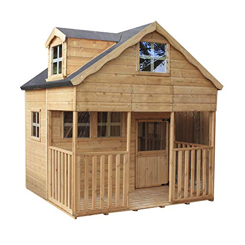 WALTONS EST. 1878 7x7 Wooden Garden Two Storey Playhouse for kids. Shiplap Construction, dip treated with 10 Year Anti Rot Guarantee - Includes Apex Roof, Felt and Floor, Safety Styrene Windows (7 x 7 / 7Ft x 7Ft) 3-5 Day Delivery