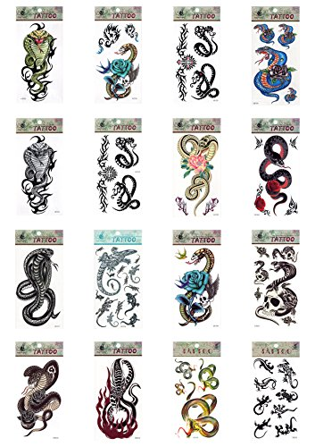 5 x Schlange Schlangen Eidechsen Gecko Skull Cobra Fire temporäre Tattoos Fancy Kleid Tattoo Halloween Body Art Make-up (Pirate Halloween-make-up)