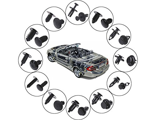 240 pcs Universal Auto en nylon Noir Clips Plastique Rivet, Car Trim Clips Push Embases universel Lot Attache Assortiment en coffret avec pinces de fixation pour 5 pcs outil de retrait de radio de tableau de bord