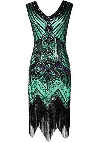 BABEYOND Damen Flapper Kleider voller Pailletten Retro 1920er Jahre Stil V-Ausschnitt Great Gatsby Motto Party Damen Kostüm Kleid (Größe M / UK12-14 / EU 40-42, Grün)