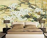 Fototapete 3D Effekt Tapete Wandbild(250cmX175cm) Handbemalte Blumen Und Vögel, Streicheleinheiten, Schwalben Vliestapete Foto Tapeten Wandtapete Wanddeko Wandbilder