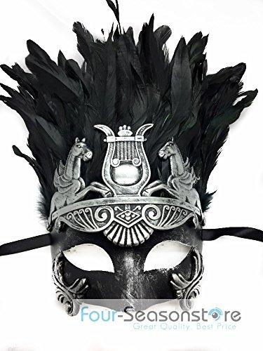 Four-Seasonstore Silber Oder Gold römischen Hercules Herren Maske Antike Griechische Masquerade Maske (Silber W/Feder)